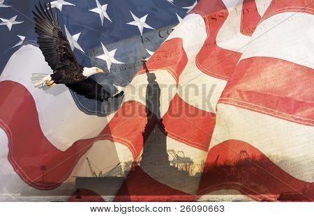 American Flag, flying bald Eagle,statue of liberty and Constitution montage