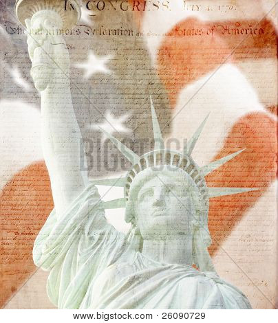 American Flag, flying ,statue of liberty and Constitution montage