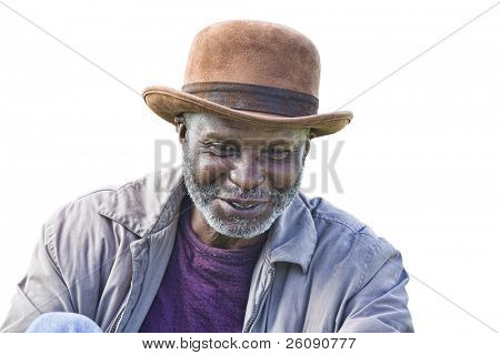 Well dressed afro-american homeless man with hat isolated on white