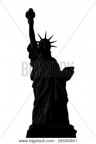 Statue of Liberty in New York City silhouette isolated on white.