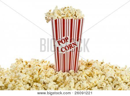 Red and white popcorn box isolated against white background