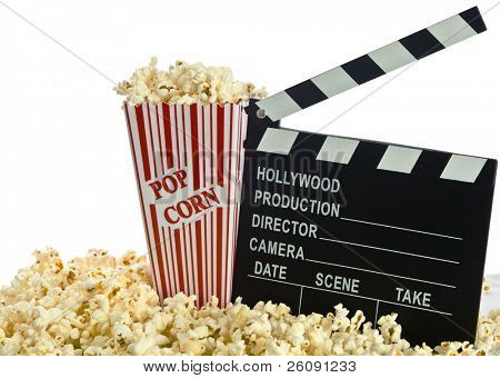 Film Clapper Board Popcorn isolated on white