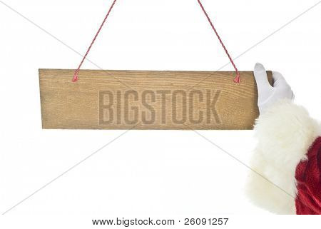 santa claus hand and blank sign isolated on white background