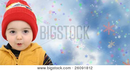 Toddler Boy gegen ein magischer Schneesturm mit Platz für Kopie.