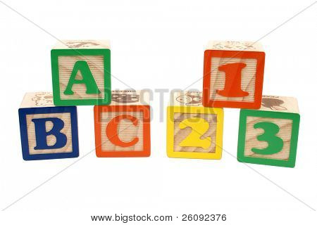 Colorful children blocks over white. ABC and 123.