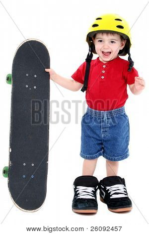 Boy In Large Shoes With Helmet And Skateboard Over White.