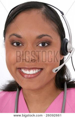 Beautiful Medical Receptionist Wearing Headset.