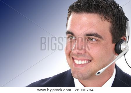 Attractive Young Customer Service Representative. Nice detail in face.