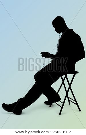 Silhouette over white with clipping path. Man Listening to Headphones Over Blue-Green Background