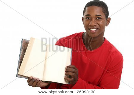 Attractive Young Man Holding Open Book with Blank Pages. Shot in studio over white.
