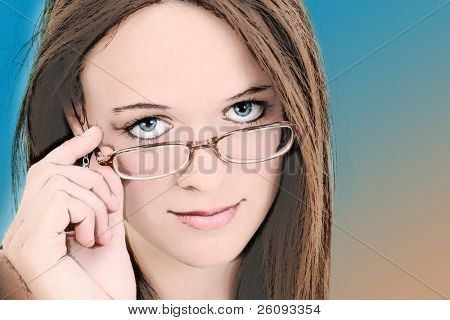 Illustration of Fourteen Year Old In Girl Eyeglasses with brown and blue background.