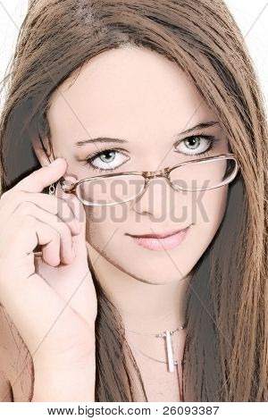 Illustration of a Beautiful Fourteen Year Old In Eyeglasses. Shot in studio over white.