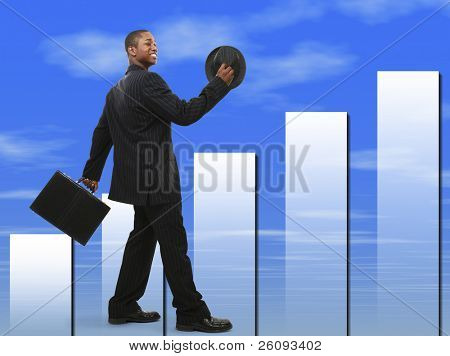 Buisinessman In Suit with Briefcase and Hat Walking and Smiling.  Blue cloud graph background.