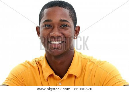 Close up of smiling man in yellow shirt over white background.