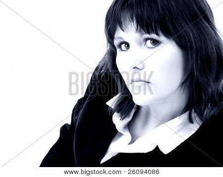 intelligente und schönen young Business Woman in Blautönen. in schuß weiß.