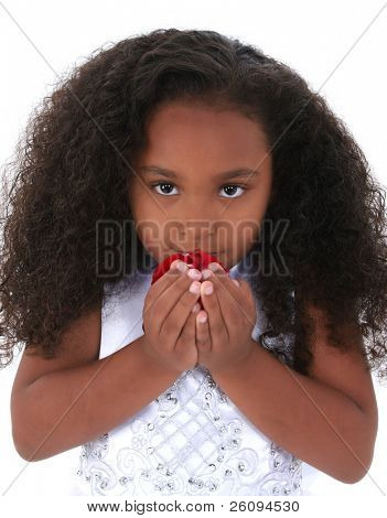 Six year old girl with beautiful long curly black hair, wearing white dress, smelling a handful of rose petals.