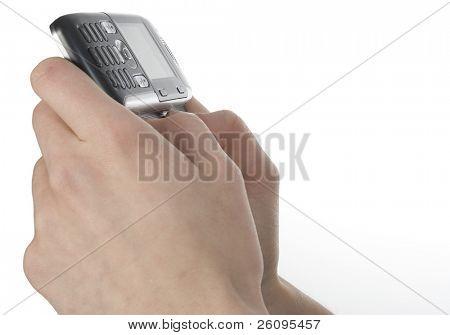 Womans hands holding cellphone text messager.
