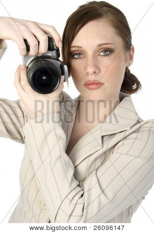 Young woman in business suit with digital slr camera.