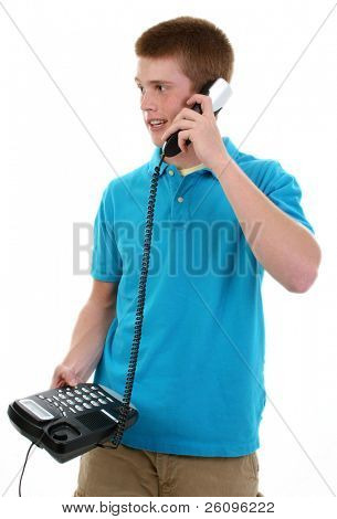 Cute 16 year old teen boy with telephone.