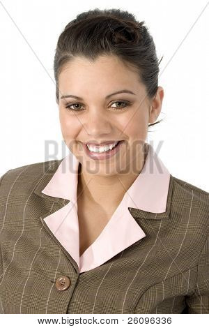 Smiling beautiful Hispanic business woman.  Headshot.