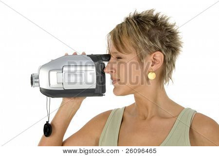 Woman with video camera.  Profile.