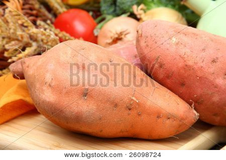 Sweet potato in kitchen.
