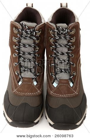 Pair of woman's tie up (lace up) weather proof snow boots over white.  Brown, black, blue.
