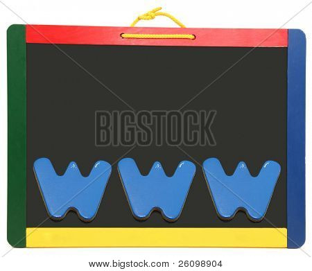 World wide web, WWW, spelled out with wooden letters on chalkboard