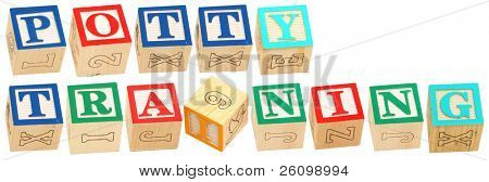 Colorful alphabet blocks spelling the word POTTY TRAINING
