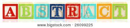 Bunte Alphabet-Blöcke, die Rechtschreibprüfung des Wortes ABSTRACT