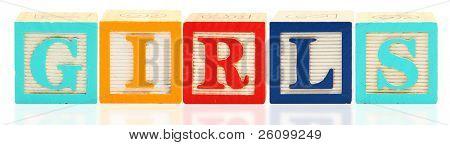 Colorful alphabet blocks spelling the word GIRLS