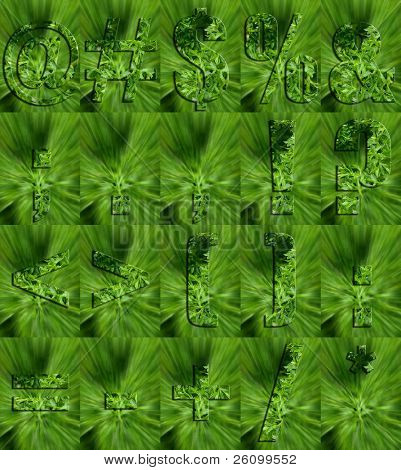 English punctuation letters made from Parsley.