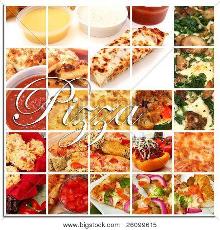 Varios pizza y pizza ingrediente alimentos juntos en un collage.  Palillos de pizza, pizza, pizza rolls, t