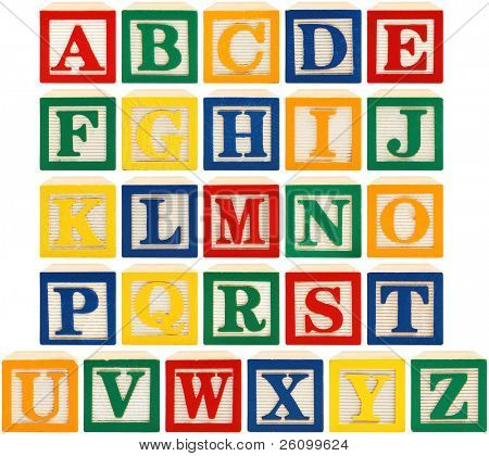 Same view 26 letters of alphabet in wooden blocks.
