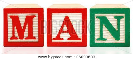 Colorful alphabet blocks spelling the word MAN.