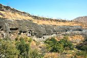 Ancient Buddhist Rock temples at Ajanta , Maharashtra, India