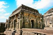 stock photo of ellora  - Ancient Ellora rock carved Buddhist temple - JPG