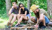How Build Bonfire Outdoors. Camping Weekend Leisure. Arrange Woods Twigs Or Sticks. Man Brutal Beard poster