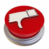 Round Button With The Symbol Of The Negative Review. Hand Gesture Of Disapproval, Disagreement, Nega poster