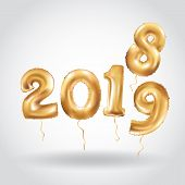 Happy New Year 2018 2019 Year After Year. Metallic Gold Balloons. Golden Letter Balloon, 2019 Happy  poster