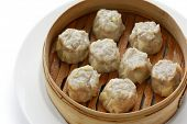 picture of siomai  - Shumai dumplings in a bamboo basket - JPG