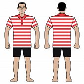 Fashion Man Body Full Length Template Figure Silhouette In Shorts And Short Sleeved Polo T Shirt (fr poster