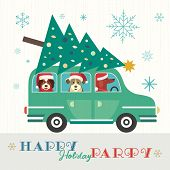 Happy Holidays Party Poster. Cute Comic Dogs In Santa Claus Hat. Christmas Tree On Retro Car. Colorf poster