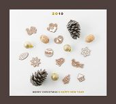 CHRISTMAS AND NEW YEAR 2019 SQUARE CARD, CHRISTMAS DECORATION COMPOSITION, TOP VIEW, BELLS, ANGELS,  poster