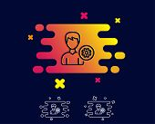 User Settings Line Icon. Profile Avatar With Cogwheel Sign. Male Person Silhouette Symbol. Gradient  poster