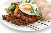 image of nasi  - nasi goreng with prawn crackers and chicken satay  - JPG
