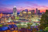 Cincinnati, Ohio, USA downtown cityscape at dusk. poster