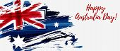 Happy Australia Day. Holiday Banner With Abstract Grunge Brushed Australia Flag. poster