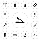 Set Of 12 Editable Hairstylist Icons. Includes Symbols Such As Scent, Hair Straightener, Instrument  poster