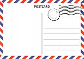 Postcard. Air Mail. Postal Card Illustration For Design. Travel Card Design. Postcard On White Backg poster